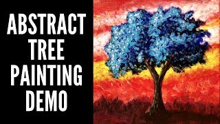Abstract Tree Painting Demo | Colorful Acrylic, inspired by Ray Grimes