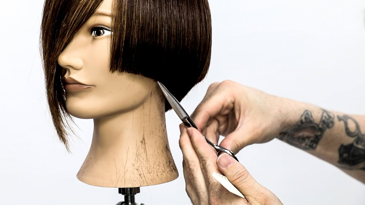 how to cut a  perfect short graduated bob with a line - haircut tutorial