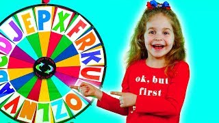 Alphabet magic spin with animation words #5 - Letters N, P, U