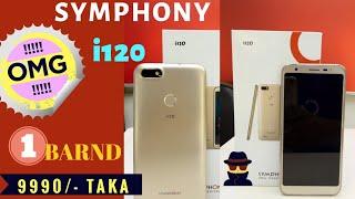 Symphony i120 10k budget phone unboxing and review Bangla #fingerprint #faceunlocked