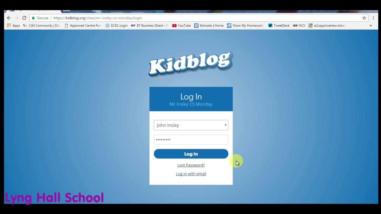 Kidblog Tutorial   How to login successfully   Lyng Hall ...