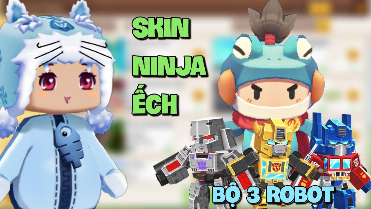 Dùng Skin mới Ninja Ếch và bộ ba Robot Transformer trà trộn trong Mini World   Meowpeo