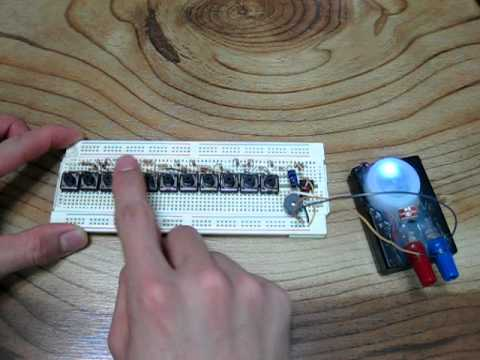 555 timer piano on breadboard - YouTube