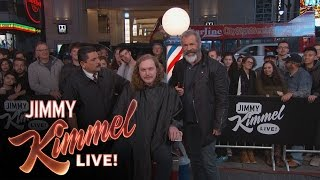 Mel Gibson Cuts Hair & Gets Shaved on Hollywood Blvd