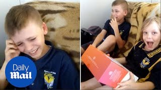 Touching moment boy bursts into tears after family gets Wi-Fi