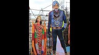 Samhita Vinya Vishnu Circle Movie Cutout Garland Decoration Triveni Theater