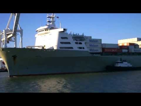 Bay Area Container Ship Spotting - Manoa departs Port of Oakland  June 18, 2013