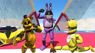 withered animatronics vs world s biggest ramp in gta 5 gta 5 mods fnaf funny moments