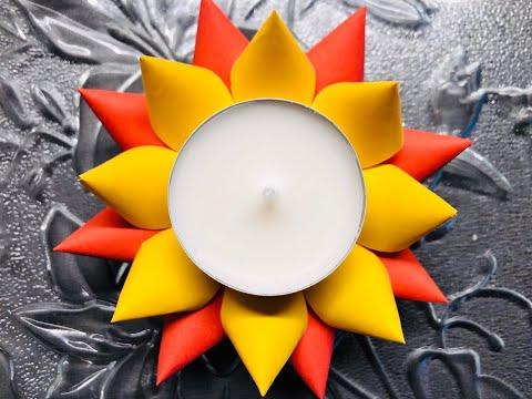 Colourful paper tea light holder   festive diya   DIY