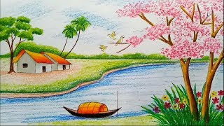 How to draw landscape / scenery of spring season with oil pastels color step by step