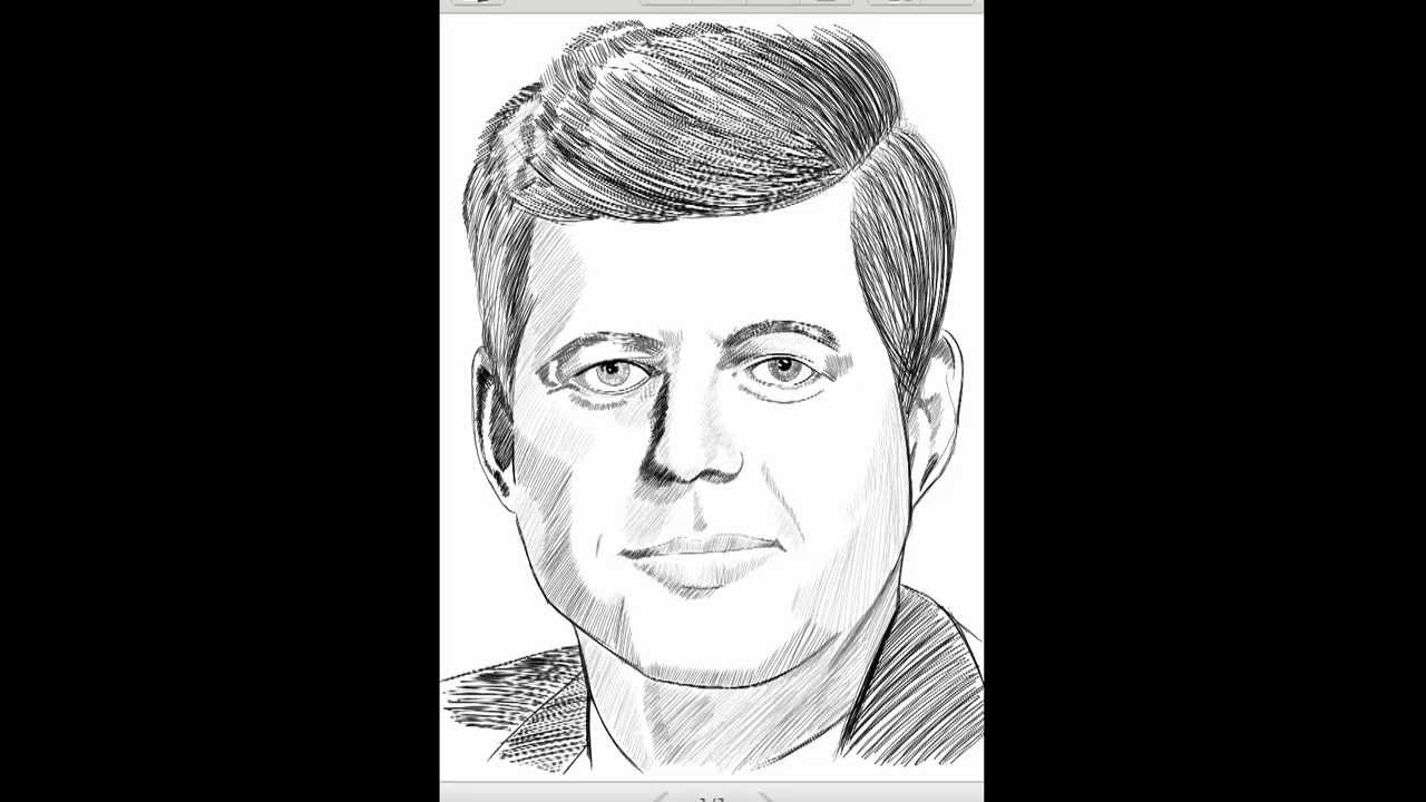 how to draw jfk step by step