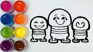 Toy Emoji coloring and drawing Painting for Kids ,Toddlers   Learn Colors