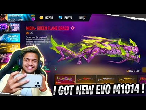 I Got New M1014 Green Flame Draco Hacker Gun Skin [ IS OVER POWER ] Garena Free Fire