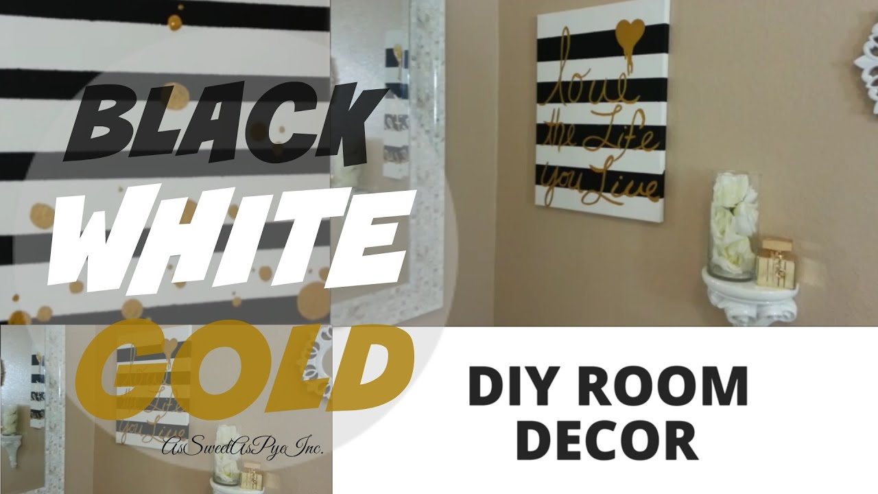 Diy room decor black white gold youtube Black and white room decor