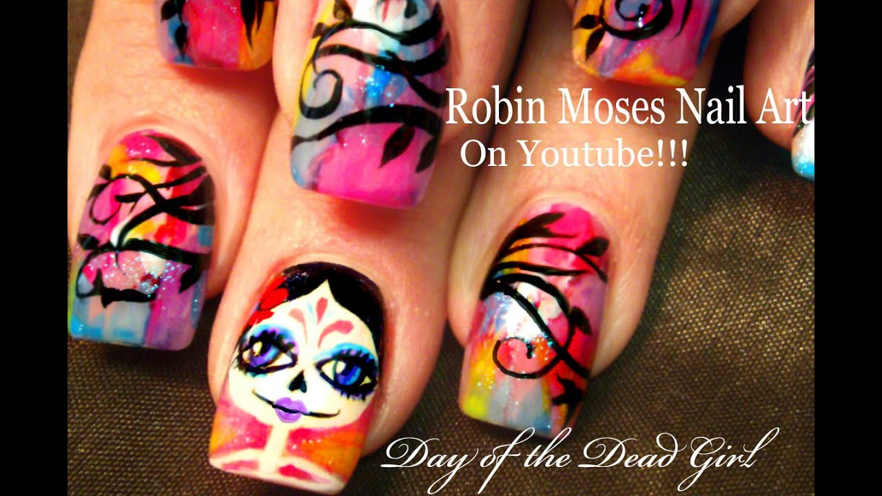 Nail Art | DIY Rainbow Day of the Dead Nails Design tutorial - YouTube