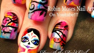 Nail Art | DIY Rainbow Day of the Dead Nails | Sugar Skull Nail Design Tutorial