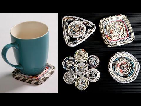 How To Make A Paper Coaster | DIY Newspaper Craft Tutorial