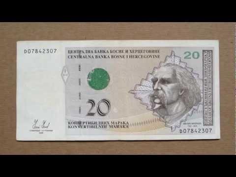 20 Bosnian Convertible Mark Banknote (20 Konvertibilnih Maraka / 2008) Face & Reverse