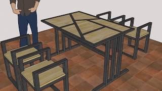 Video |model Meja Kursi| Kafe|rangka Besi