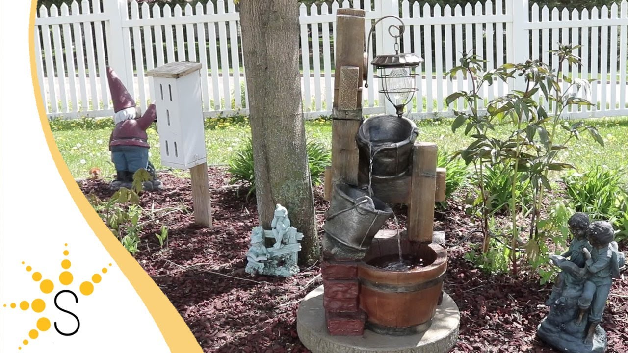 Sunnydaze Rustic Pouring Buckets Outdoor Water Fountain with Solar Lantern 34 Inch Tall