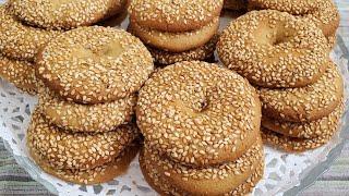 طريقة تحضير الكعك بالسمسم  المقرمش Crunchy sesame cookies recipe