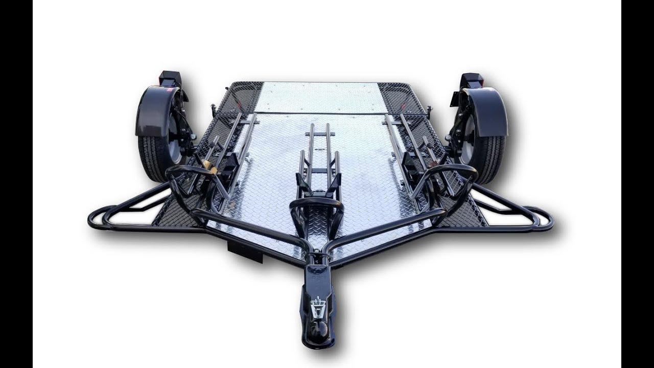 Three Rail Foldable Motorcycle Trailer Kit Tow Three Bike How To