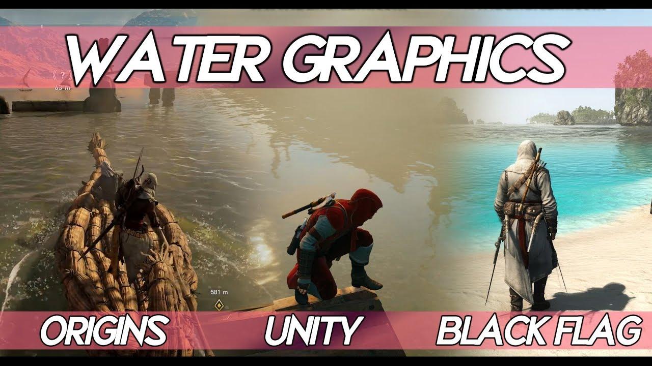 "AC Origins ""WATER GRAPHICS"" Comparison VS AC Black Flag VS AC Unity | How  realistic water looks ?"