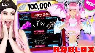 Buying ALL Of The BRAND NEW HALLOWEEN WINGS! 100,000 Diamond SPENDING SPREE! Royale High Update