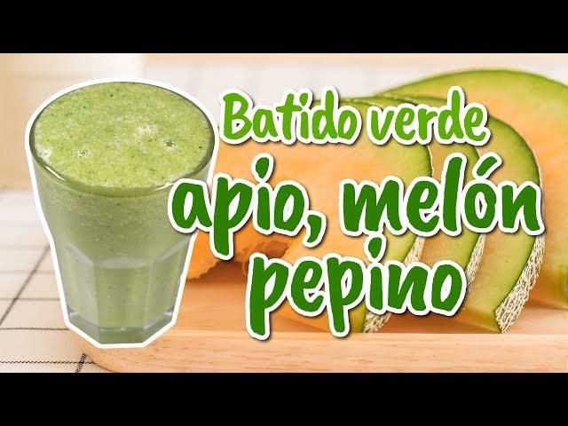Batido verde con melón, apio y pepino