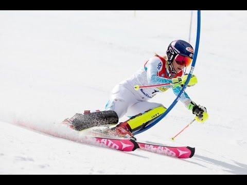 Mikaela Shiffrin Wins - Slalom Run 1 & 2 - 2016 U.S. Alpine Championships