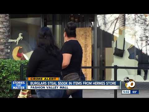 Burglars target Fashion Valley Hermes