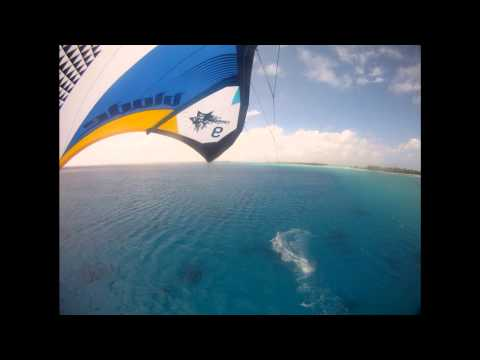 Estrellita at anchor in the Tuamotus (aerial)
