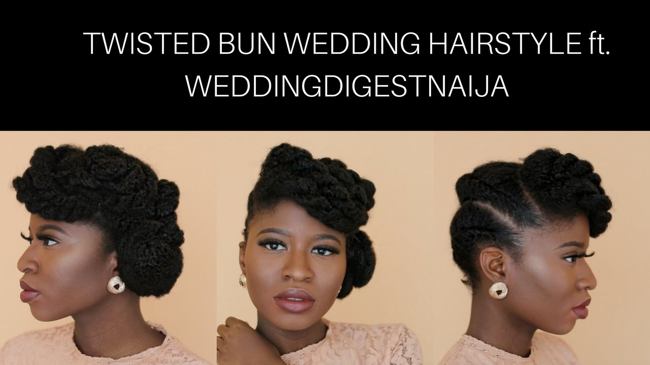 natural hair | twisted buns updo on thick/type 4 hair (wedding guest look) ft. weddingdigestnaija
