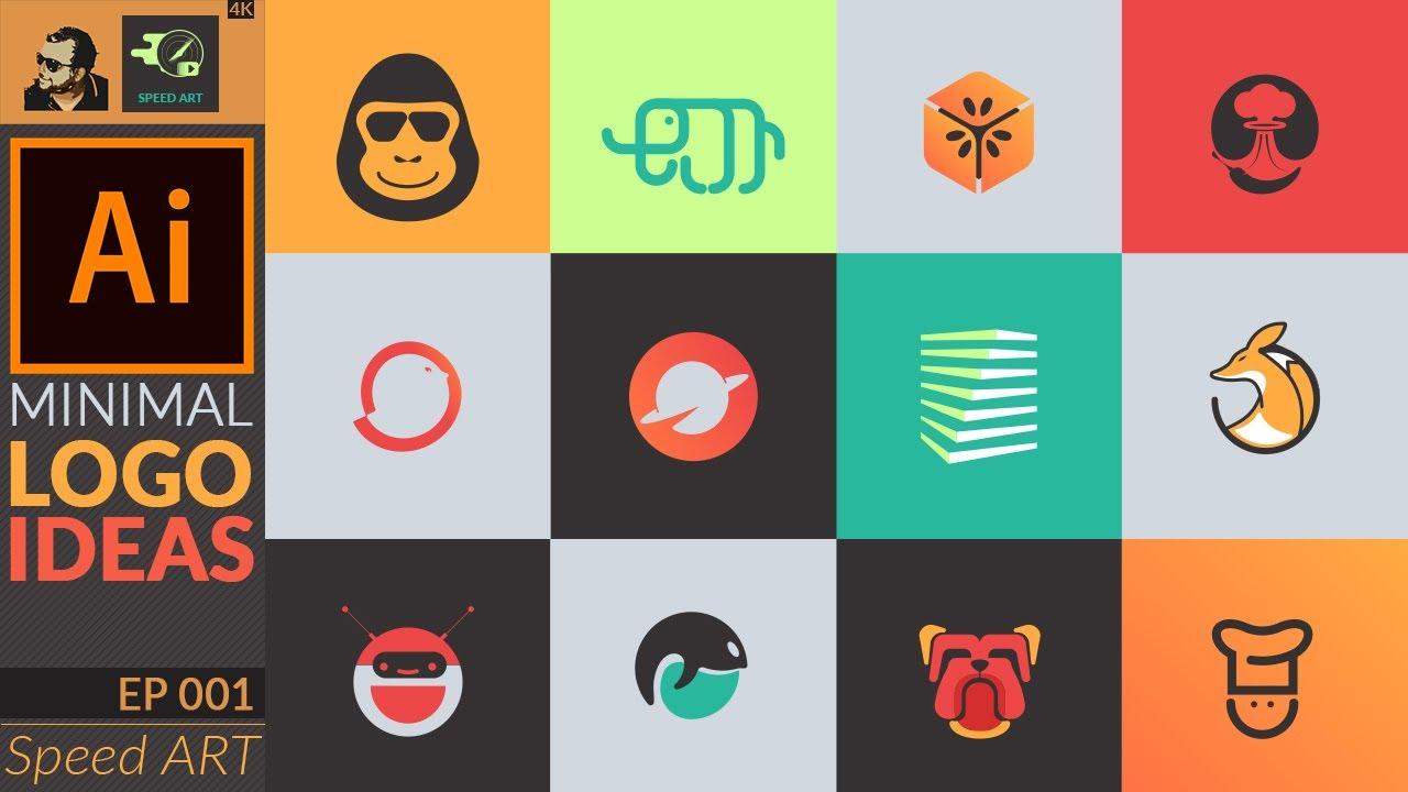 12 Minimal Logo Ideas in Adobe Illustrator 2020 | Speed Art | Set 01