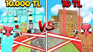 10 TL FAKİR LAZERLİ EV VS 10.000 TL ZENGİN LAZERLİ EV! 😱 - Minecraft