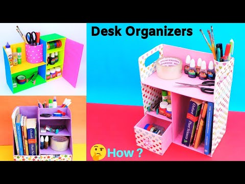 3 DIY Desk Organizers from  Cardboard | Best out of waste | Space saving organizer