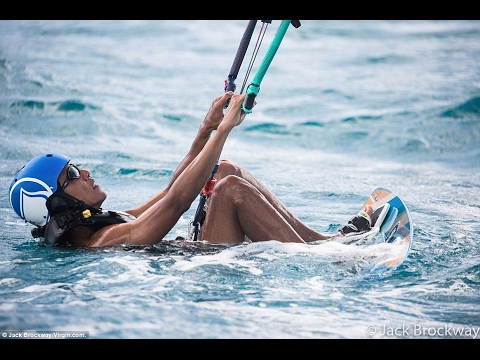 Barack Obama kite surfing  on Richard Branson's private islands Necker and Moskito