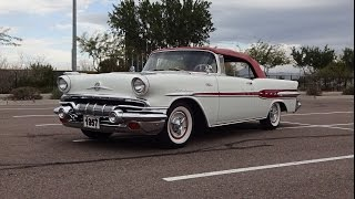 1957 Pontiac Star Chief Convertible in White / Red & Engine Sound on My Car Story with Lou Costabile