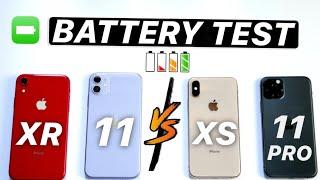 iPhone 11 vs  iPhone 11 Pro vs iPhone XR vs iPhone XS Battery TEST - INSANE Results