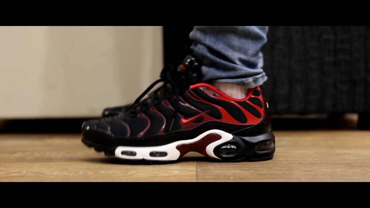 brand new 87ac8 2d921 ... switzerland onfeet nike air max plus tn blackredwhite youtube bf90e  db29a
