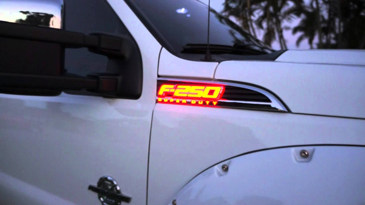 Recon Part 264285rd 11 14 Ford F 250 Superduty Illuminated Emblems 2004 Super Duty Led Lighting Red Youtube