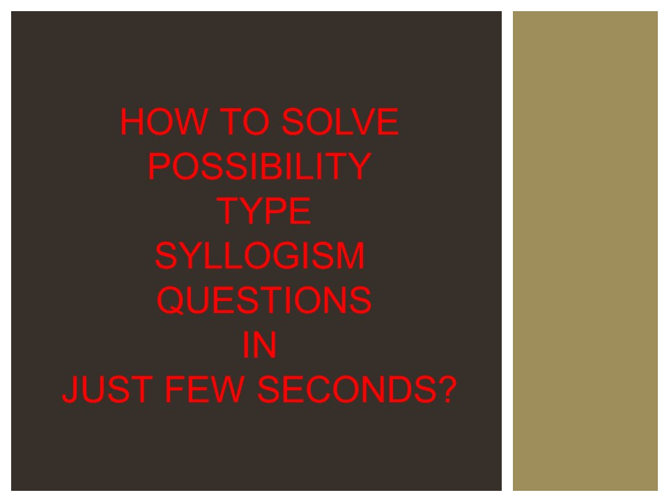 Syllogism Possibility Tricks With Venn Diagram All Kind Of Wiring