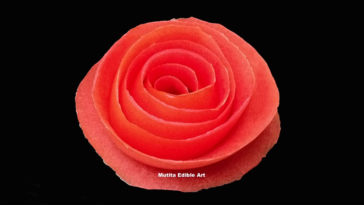 Tomato Rose Flower   Beginners Lesson 12 By Mutita The Art Of Fruit And  Vegetable Carving Tutorial   YouTube
