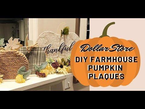 Elegant Dollar Tree DIY Pumpkin Mantle Plaques - Farmhouse Glam How-To