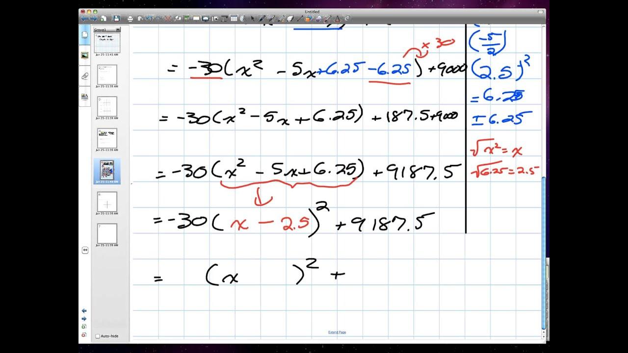 Quadratic Functions Grade 10 Academic Chapter 4 Test Q 4