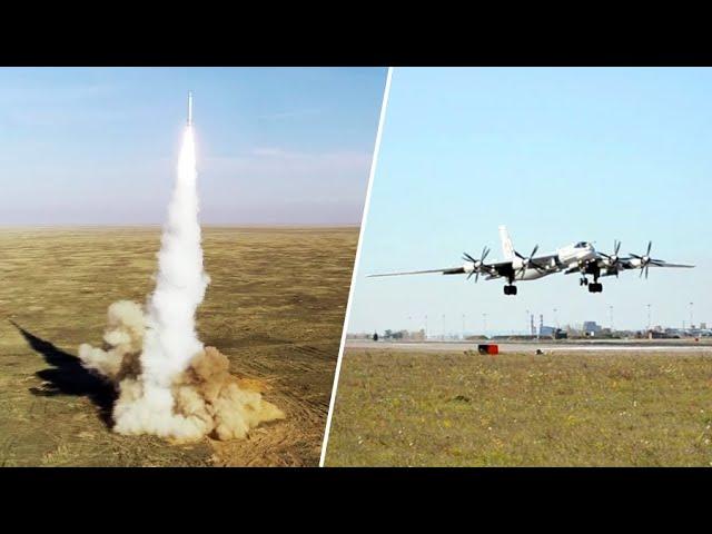 Полёт Ту-95МС и пуски крылатых ракет на учениях «Гром-2019»