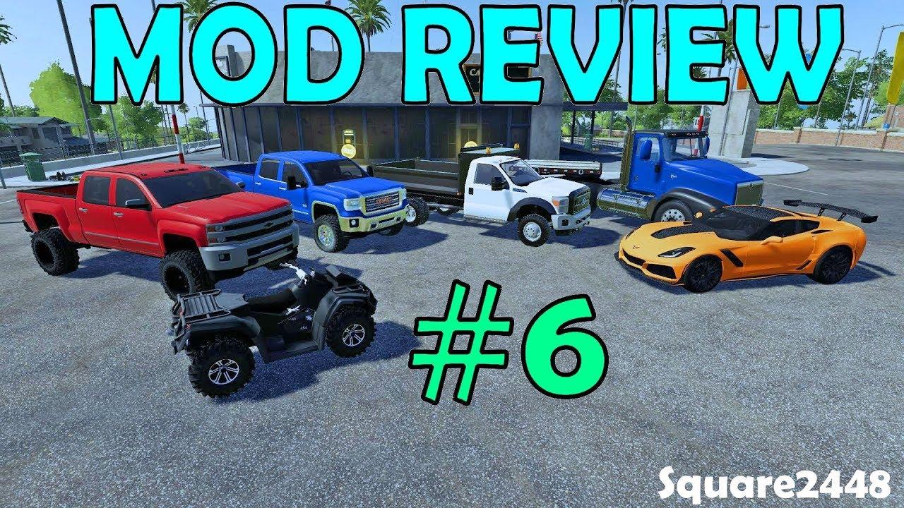 Farming Simulator 19 Mod Review #6 Corvette ZR1, ATV, Chevy & GMC 2500HD  Dump Truck, Semi & Lowboy