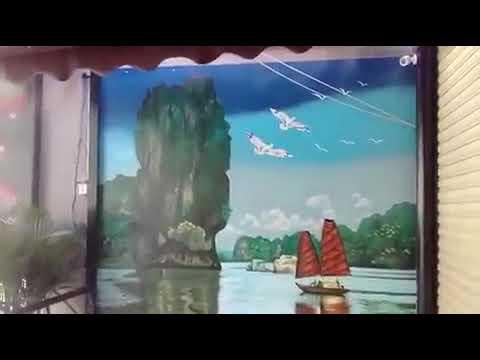 """vẽ tranh tường phong cảnh bích họa """" Vịnh Hạ Long"""" _lh TínPhátArt :09.76.476.894"""