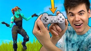 Playing Fortnite Battle Royale With a PLAYSTATION 1 CONTROLLER... IT WORKS