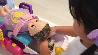 美容室ごっこ シャンプー ぼさぼさソランちゃんをサラサラにしてあげよう!Hair Beauty Salon☆Shampoo
